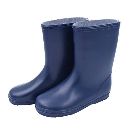 [kiejun] ベビー キッズ レインブーツ 長靴 カラー無地 日本製 子供 長ぐつ (19cm, ネイビー)