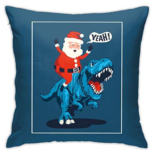 RETRUA Fundas de cojín de Papá Noel con diseño de dinosaurio, color azul, para salón, dormitorio, sofá, silla, 45 x 45 cm