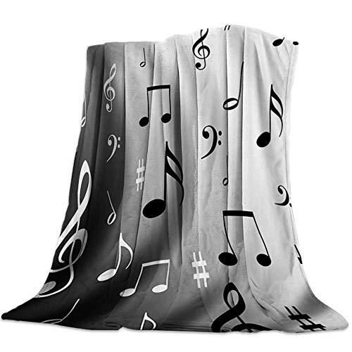 Manta Franela Teclado Musical Negro Manta Bebe Mantas para Sofa Mantas para Cama - Microfibra Extra Suave - Manta Forro Polar de Invierno, para Niños 100x130 cm