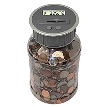 Teacher s Choice Digital Coin Bank Savings Jar and Piggy Bank   Automatic Coin Counter Totals All U.S Coins Including Dollars and Half Dollars - Original Style Clear Jar w/ Grey Lid
