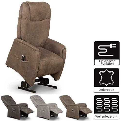 Cavadore TV-Sessel Mamby elektrisch mit Aufstehhilfe + 2 Motoren zur Verstellung der Rückenlehne + Fußstütze / Ergonomie L / Belastbar bis 130 kg / 69 x 119 x 83 / Wildlederoptik Braun