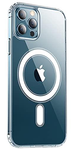 KISEN Magnetic Case for iPhone 12 Pro Max Case [Non Yellowing] Compatible with MagSafe Charger Shockproof Phone Cover Slim Thin 6.7 inch - Clear