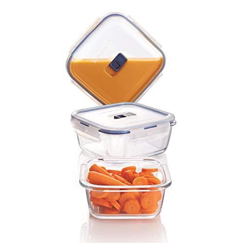 Josef Mäser GmbH Luminarc serie Pure Box 252546 - Set da 3 contenitori per alimenti di forma quadrata, con coperchio attivo, per il congelatore, non assorbe odori né colori