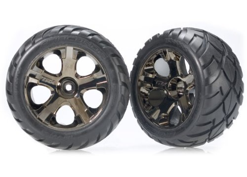 Traxxas 3776A Anaconda 2.8' Tires Assembled on All-Star Black-Chrome Wheels