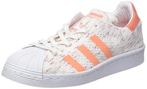 adidas Damen Superstar 80S Prime Knit Gymnastikschuhe, Elfenbein (Footwear White/Collegiate Burgundy/semi Flash Orange), 38 2/3 EU