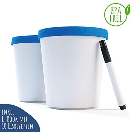 Zwin® 2er-Set Speiseeis Aufbewahrungsbehälter 1L - Eisbehälter mit beschriftbarem Deckel - Wiederverwendbare Eisbehälter - BPA-frei - Ideal für selbstgemachtes EIS