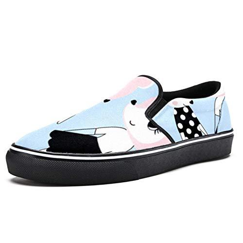 TIZORAX Fox Novias Slip on mocasín zapatos para hombres niños moda lona plana barco zapato, color Multicolor, talla 40 2/3 EU