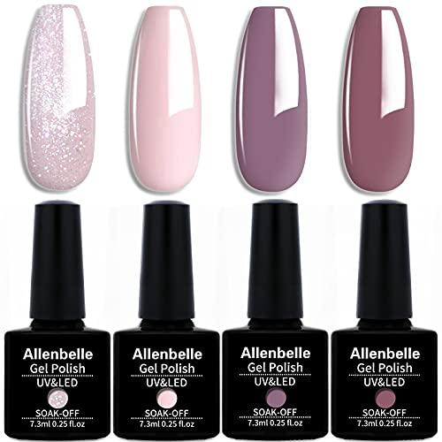 Allenbelle Smalto Semipermante Per Unghie Kit In Gel Uv Led Smalti Semipermanenti Per Unghie Nail Polish UV LED Gel Unghie 079