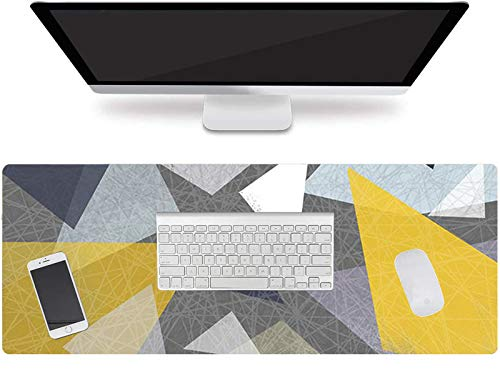 Large Mouse Pad,Geometric Pattern Desk Mat XXL Extended Gaming Mouse Pad Non-Slip Keyboard Pad for Laptop Computer Home Office Accessories(Gold Geometric)