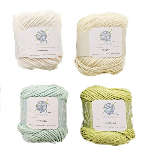 Knitting Yarn, Crochet Yarn, Mindfulness and Relaxation 100 Percent Cotton Yarn, Multicolor 4-Pack Medium Number 4 Worsted Bundle, Soft & Gentle for Baby Items - by mindfulknits