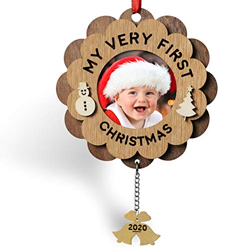 Creawoo My Very First Christmas Ornament Picture Frame 2020 Wooden Baby's Xmas Keepsake Ornament Photo Frame Idea Gift for New Born Baby, Parents and Grandparents