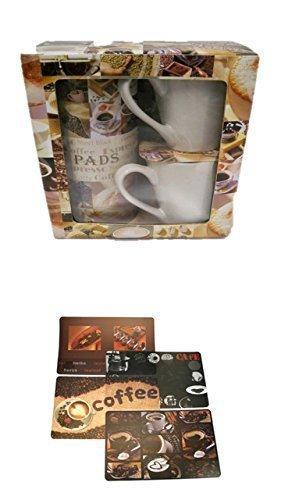 geschenkset für kaffeepads + Tischunterlagen-Set 4-teilig, abwaschbar, Tischset, Platzset