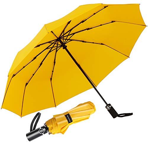 Newdora Regenschirm Taschenschirm Windproof sturmfest Auf-Zu Automatik 210T Nylon Umbrella wasserabweisend klein leicht kompakt 10 Ribs Reise Golfschirm mit Trockenbeutel(Gelb)