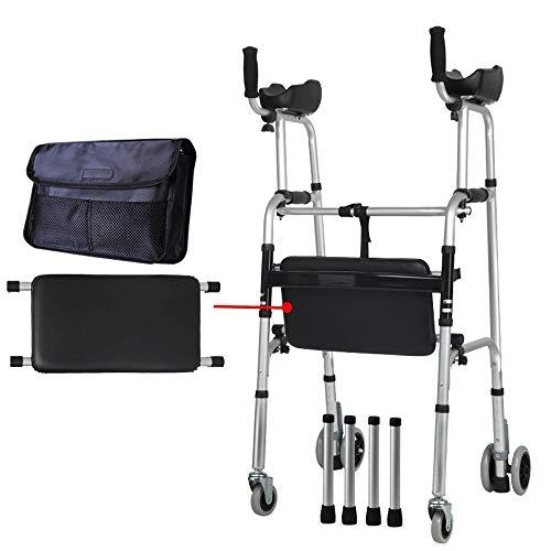 Oudere opvouwbare Walker | Verstelbare hoogte | met armleuningspads en wielen |Glad en gemakkelijk schoon te maken | 2 Wielen + zitting + tas (maximale belastbaarheid 150kg) Four wheel - with cushion