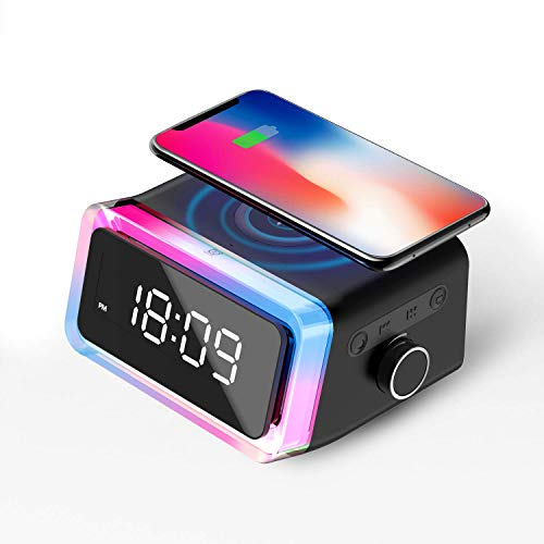 Doppelwecker mit zwei Modi, Multifunktionaler Wecker mit Wireless Charger für Qi-fähigen Handys, Bluetooth Speaker Nachttischlampe für Schlafzimmer/Wohnzimmer/Büro, Wecker Geschenk für Kinder Jugen