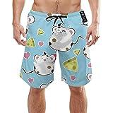 Costume da Bagno da Uomo a Rapida Asciugatura roditore Cartoon roditore a Secco con Tasche Lunghi Elastici Cintura da Spiaggia Pantaloncini da Bagno XXL