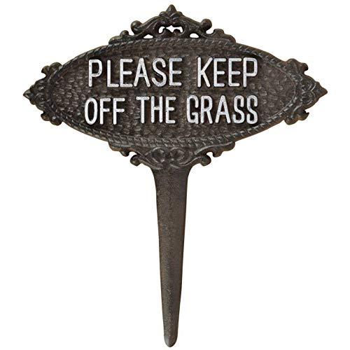 L'Héritier Du Temps Tuteur Pic de Jardin Motif Etiquette Keep Off The Grass Blanche Tige en Fonte Patinée Marron 1x21x23cm