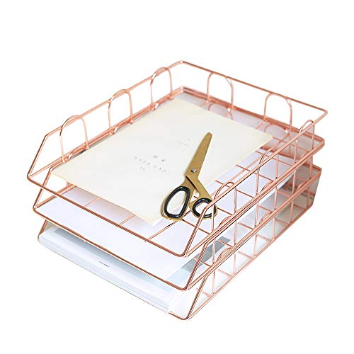 Bandeja de cartas de presentación de 3 niveles A4,bandeja de cartas apilables Escritorio de oficina Archivo ordenado Documento Carta Organizador de papel Bandeja de presentación de metal A4(oro rosa)