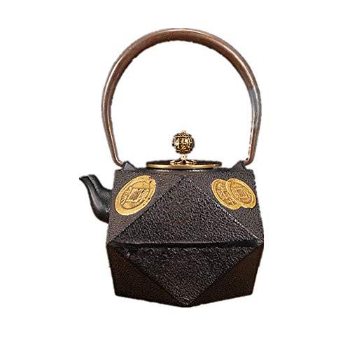 Tetera de hierro fundido 1300ml molde grande clásica de la alta-Fired Tetera de hierro Tetera de hierro fundido geométrica espacial Estructura de la tetera Para té de hojas sueltas y bolsitas de té