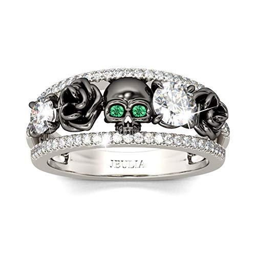 Jeulia Schädel Ringe Sterling Silber Rundschliff Diamant Ring Schwarz plattierte Blumen Eheringe mit Smaragd Birthstone CZ Versprechen Verlobungsjubiläumsringe mit Schmuckbox (Schwarz, 58 (18.5))