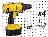 Pegboard Drill Holder, 4 Pack - Black, Steel - Hooks to Any Peg Board - Pegboard Organization Accessory - Add to Pegboard in Your Tool Shed, Garage, or Workbench