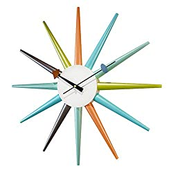 SHISEDECO George Nelson Wall Clock Decorative Modern Silent Wall Clock for Home, Kitchen,Living Room,Office (Full Range Available) (Sunburst Clock Multicolor-08B)