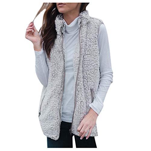 MINIKIMI dames pluche vest zonder mouwen winterjas dikke korte cardigan effen warm faux bont pullover rits meisjas met zakken