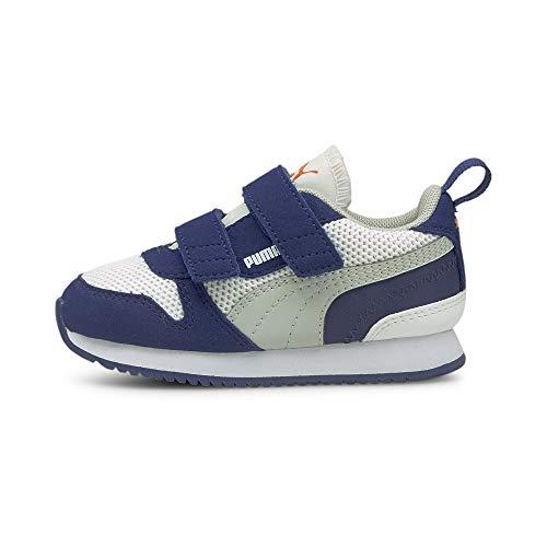 Puma R78 V INF, Zapatillas Unisex Bebé White/Gray Violet/Elektro Blue, 21 EU