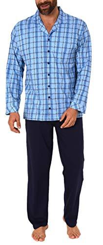 Eleganter Herren Pyjama Schlafanzug lang zum durchknöpfen - auch in Übergrössen bis Gr. 70, Größe2:54, Farbe:blau