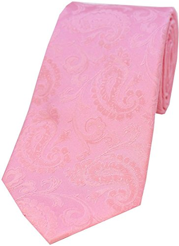 David Van Hagen Cravate Baby Pink Paisley Silk de