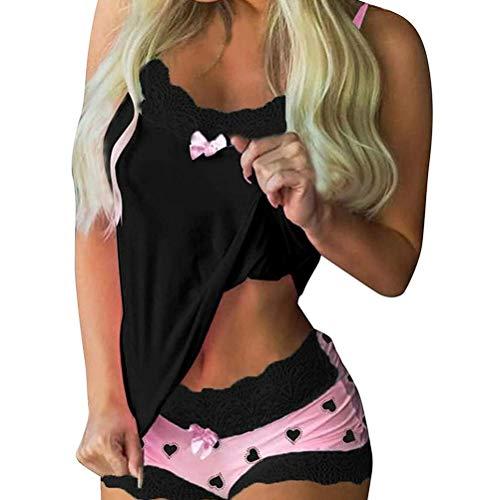 Mumaya Conjunto de Ropa de Dormir para el día de San Valentín, Conjunto de Pijama para Mujer, Pijama Corto con Pantalones Cortos, para Mujer, Ropa Interior de Encaje, Minifalda, Ropa de Dormir