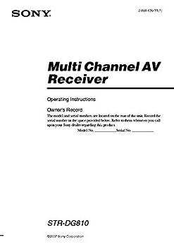 Sony STR-DG810 AV Reciever Owners Instruction Manual Reprint [Plastic Comb]