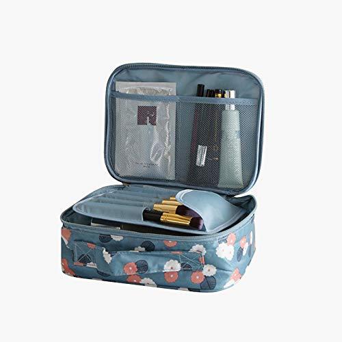 Sac à cosmétiques portable imprimé Boîte de rangement cosmétique portable grande capacité Sac à cosmétiques portable fond bleu fleur A