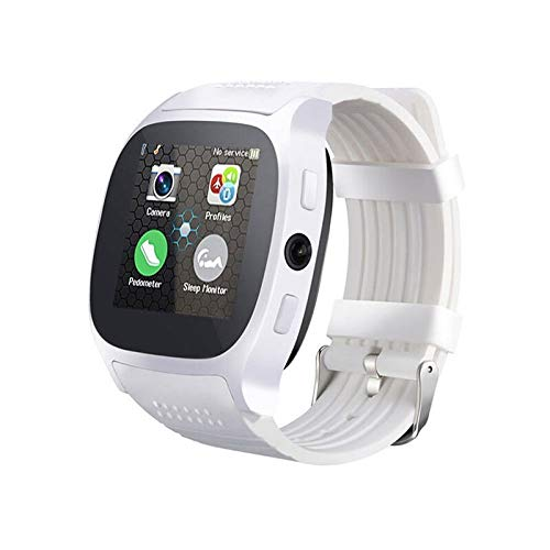 QWERTYU LIJIANME Tarjeta TF T8 Bluetooth Inteligente del Reloj Met cámara Ondersteuning Sim Stappenteller Mannen Vrouwen Llamada Sport SmartWatch Voor Android Telefoon PK q18 DZ09 (Color : White)