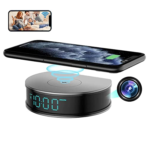 Alarm Clock Fast Wireless Charger with Nanny Camera, LIZVIE 15W 1080P Security Mini Camera Night Vision/Motion Detection/Video Recording/Remote Monitoring Surveillance for Home and Office