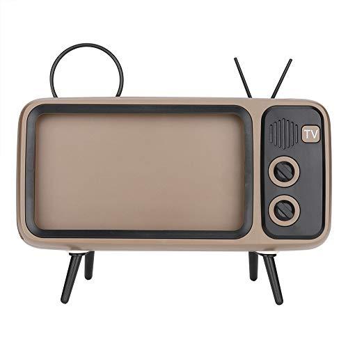 Altoparlante Stereo Bluetooth Hi-Fi HD a Forma di TV Vintage retrò, MiniCreative 6    Stand per Telefono Cellulare Altoparlante, Minimalismo Home Leisure Life Art Soundbar per Godersi(Grigio)