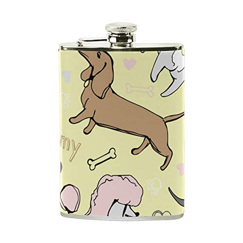 NA Ich Liebe Mein Hündchen Mops Bulldog Pudel-Dackel-Edelstahl-Hüfte-Flasche, Tasche Camping Wein-Topf, Geschenk für Männer oder Frauen, 8 Oz