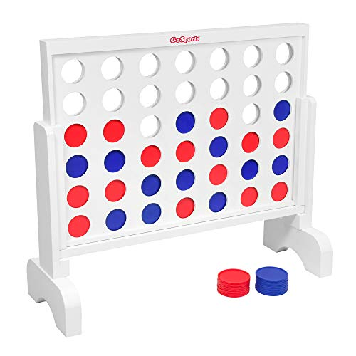 GoSports Giant Wooden 4 in a Row Game - Choose Between Classic White or Dark Stain - 2 Foot Width - Huge 4 Connect Family Fun with Coins, Case and Rules