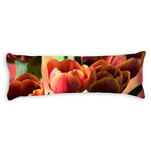 pealrich Fundas de almohada para pelo y piel de 40,6 x 60,9 cm, color granate tulipanes decorativos para cojín para sofá, dormitorio, coche