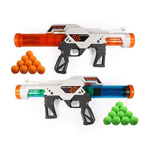 RuiDaXiang Power Popper Pistolas de Juguete ,Paquete de Batalla Dual de 2pcs, Pistolas de Juguete con Disparador de Bola de Espuma para niños de más de 6 años Que juegan con su Familia
