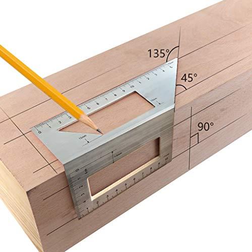 95sCloud Aluminium Holzbearbeitung 3D-Gehrungswinkel 45°/90°-Winkel Messen quadratischer Größe Messwerkzeug mit Messgerät und Winkel Lineal für Holzbearbeiter Scriber T Lineal