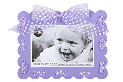 Mishu Designs 125 Ribbon Magnet Picture Frame, Light Purple