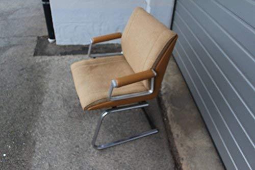 original Vintage 70s Design Girsberger Eurochair Bürostuhl Aluminium Cognac 70er