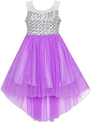 Purple With Sequin & Mesh Princess Tulle Dress
