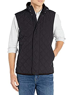 Amazon Brand - Buttoned Down Men's Water Repellant Quilted Vest, Black XS