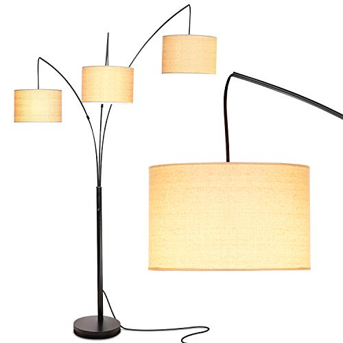 Brightech Trilage Arc Floor Lamp w/Marble Base - 3 Lights Hanging Over the Couch from Behind - Multi Head Arching Tree Lamp - For Mid Century, Modern & Contemporary Rooms - Black