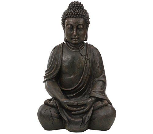 Dehner Buddhafigur sitzend, ca. 51 x 33.5 x 27.5 cm, Polyresin, bronze/grau