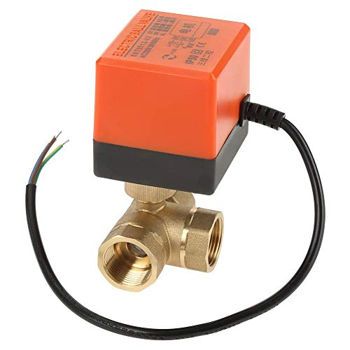 JIAHONG Válvulas de Válvula de bola de latón, válvula de bola del accionador motorizado de 3 vías resistente de 3 vías para acondicionador de aire 1pcs AC 220V G3 / 4 'DN20 para sistemas de plomería