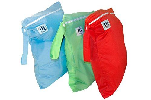 Trois couches Little Imps Chiffon humide fermeture éclair bags-set de 3 couleurs vert, bleu, jaune ou rouge