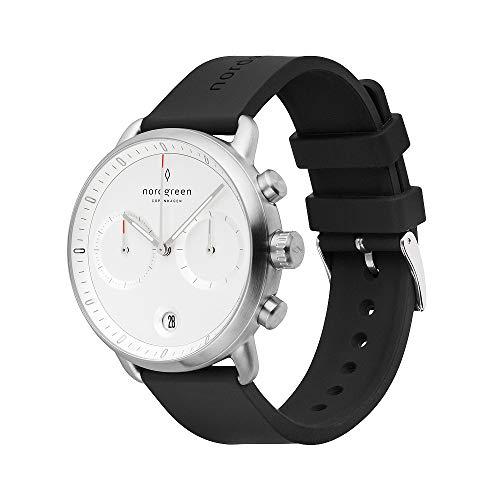 Nordgreen Pioneer skandinavische Herrenuhr in Silber mit Weißem Ziffernblatt und austauschbarem 42mm Silikon Armband Schwarz 14043
